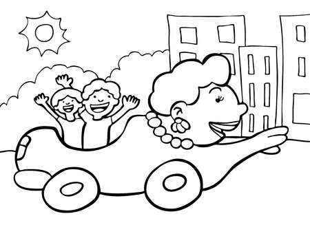 transforms: Mom car drawing of a mother turned into a car driving the family. Illustration
