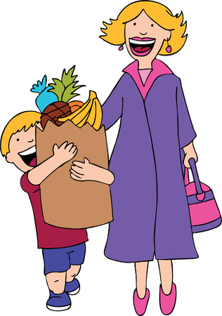 Son Helps Mom with the grocery bag cartoon.