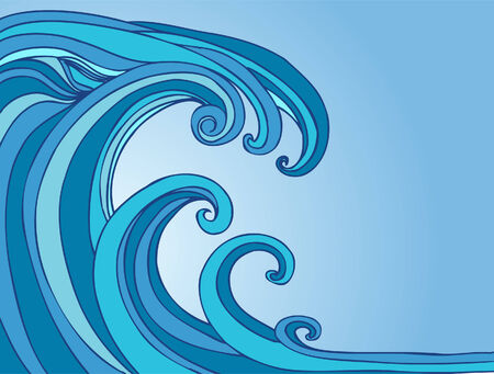 Blue Tsunami drawing of a wave in the shape of a monster. Vectores