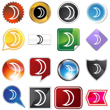 Moon planetary sign icon set isolated on a white background. Stock Vector - 5730659