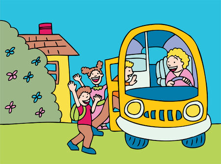 picking up: school bus cartoon of children, driver picking up at home.