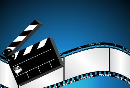filmnegativ: Film-Hintergrund mit Clapboard und Film negativ. Illustration