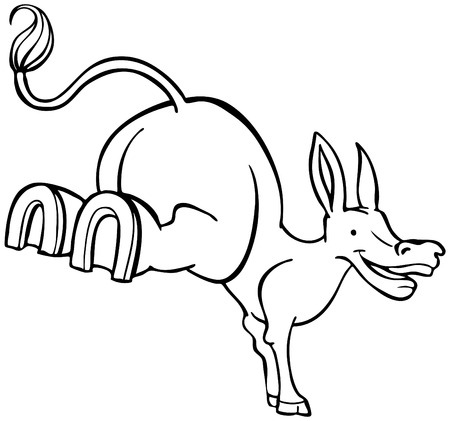 mule:  Stubborn Mule Cartoon Line Art isolated on a white background. Illustration