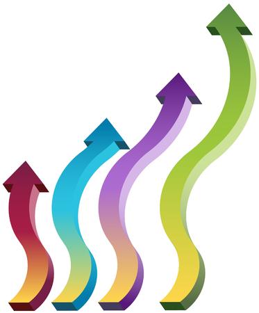 upward: Upward moving arrows isolated on a white background.