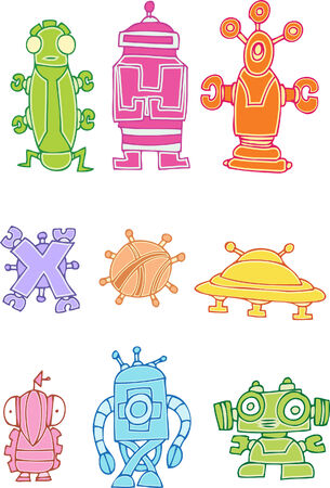 robot set isolated on a white background. Vector