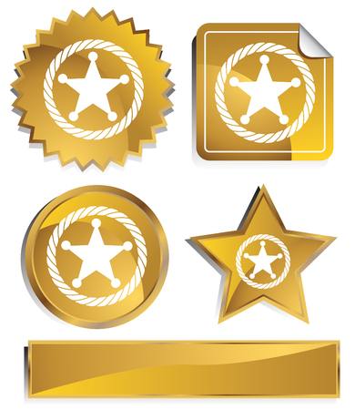 sheriff badge: Icono de Sheriff Rope insignia de oro aislado en un fondo blanco.  Vectores