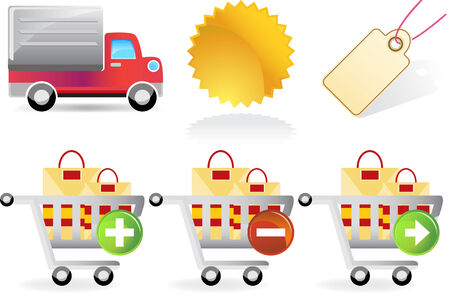 Shopping Set isolated on a white background. Vector