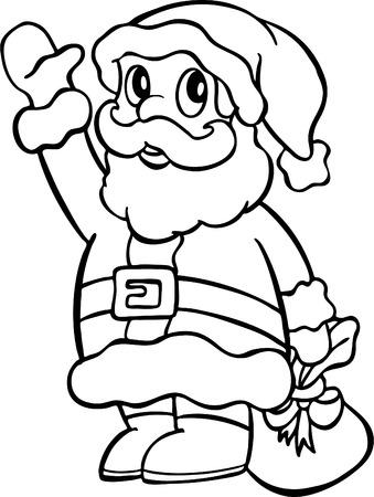 가방 라인 예술을 들고 산타