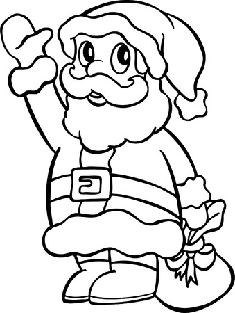 Santa holding a bag line art