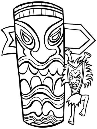 tiki: Witch Doctor Tiki Idol Line Art isolated on a white background. Illustration