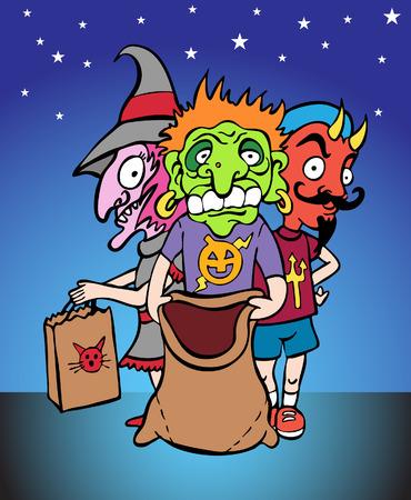 get up: Halloween bambini vestiti fino e pronto per ottenere qualche caramella. Vettoriali