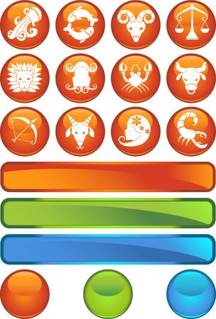 Zodiac Orange Icon Set isolated on a white background. Vector