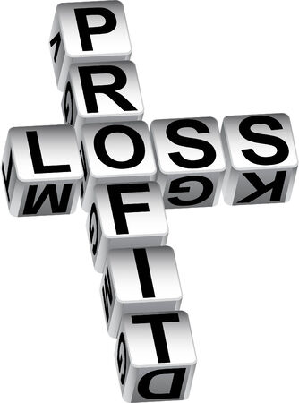 profit loss: Profit loss dice isolated on a white background.