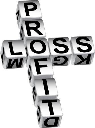 profit and loss: Utile perdita dadi isolati su uno sfondo bianco.