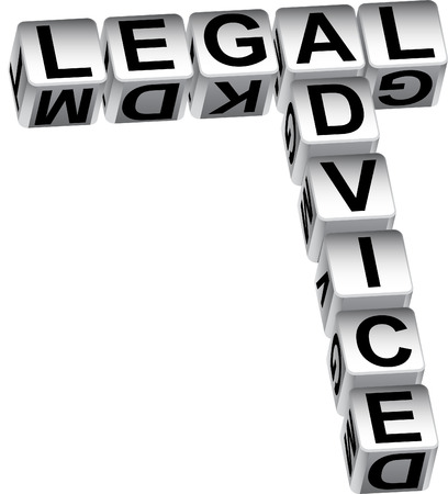 Legal advice dice isolated on a white background.