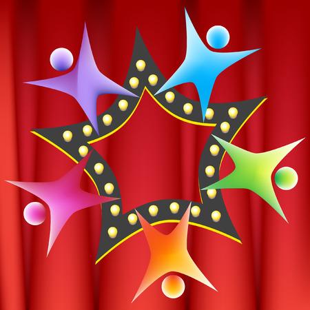 Teamwork Star illustration image on a red curtain background. Illustration