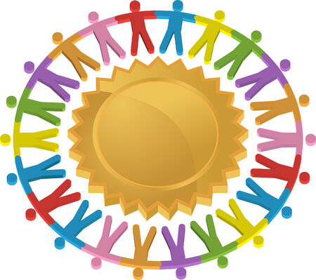 people icon:  Teamwork Shield Icon isolated on a white background.