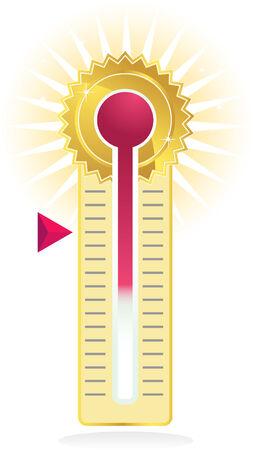 termometro: medidor de meta aislado en un fondo blanco.