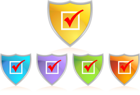 checklist: checkmark shield isolated on a white background.