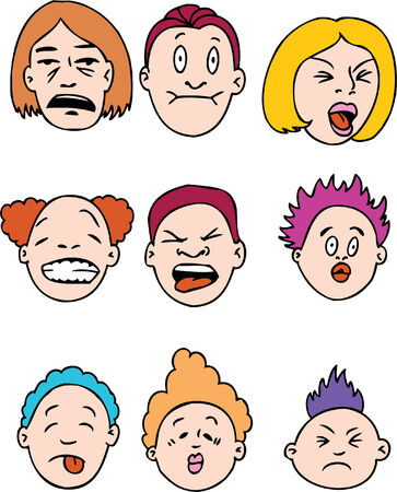 making a face: Sour People isolated on a white background.