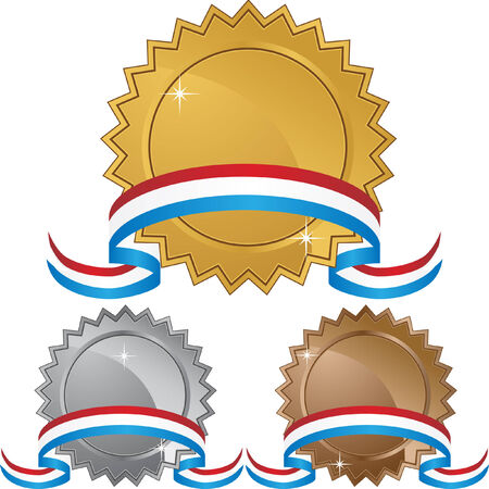 silver medal: Star award isolated on a white background.