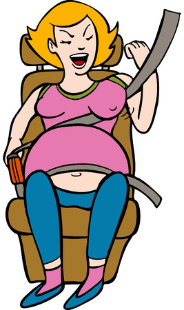 Pregnant woman is uncomfortable wearing her car seatbelt. Vector