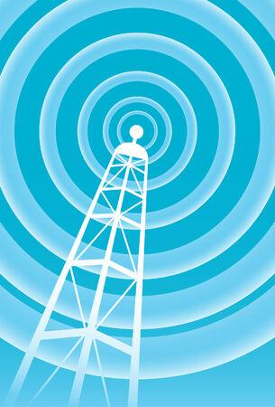 Broadcasting signaal van de toren in een helder blauwe en witte kleuren voor communicatie. Stock Illustratie