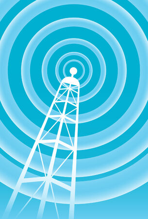 wireless signal: broadcasting tower signal in a bright blue and white coloring for communication. Illustration