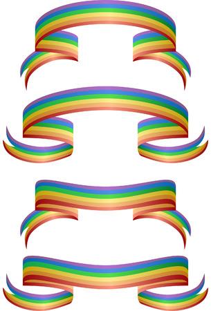 gay: Regenbogen-Banner auf einem wei�en Hintergrund isoliert.