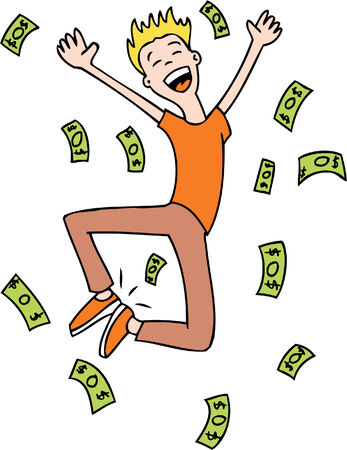 rich man jumping isolated on a white background.
