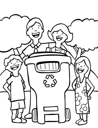 recycling family line art isolated on a white background.