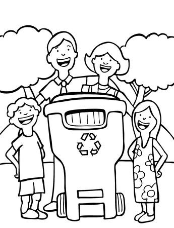 ni�os reciclando: reciclaje de arte de l�nea familiar aislado en un fondo blanco.