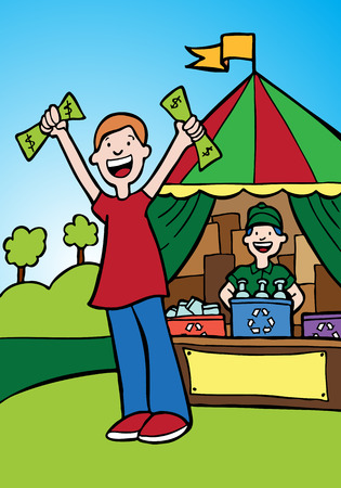 recycling: recycling center with man getting money in exchange for his recyclable materials. Illustration