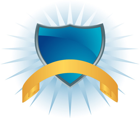 Glowing Blue Shield isolated on a white background. Ilustracja