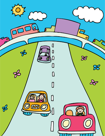 overpass: traffic cartoon with cars, trucks and other vehicles on a overpass and highway road.