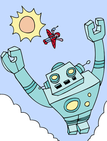 Boy Robot both are flying high in the sky with sun and clouds.