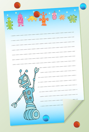 tack: robot notepad isolated on a white background.