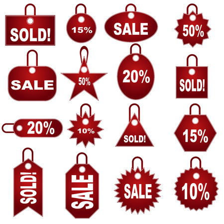 retail pricing tag set isolated on a white background. Ilustração
