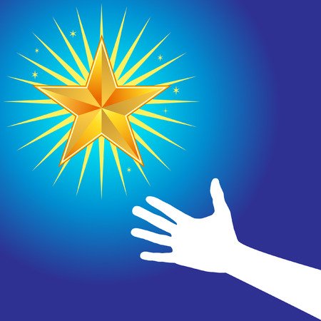 Reach stars with hand grasping for a glowing orange star.