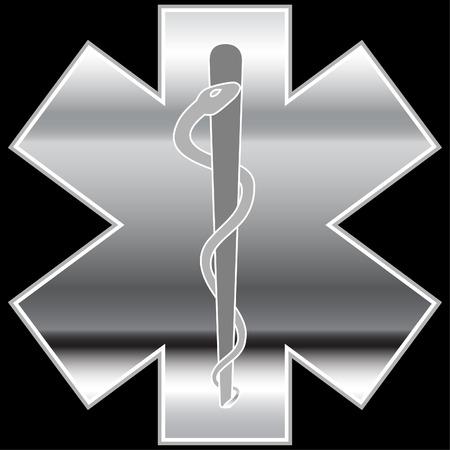 paramedics: Chrome Caduceus isolated on a white background. Illustration
