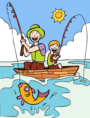 two: Father Son Fishing Trip cartoon with two people on a boat under sun and clouds.