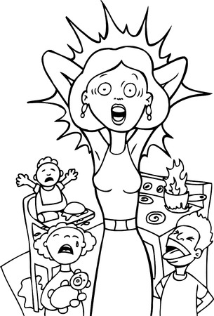 mother cartoon:  Frantic Mom isolated on a white background. Illustration