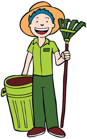 Landscaper with trashcan and rake isolated on a white background. Çizim