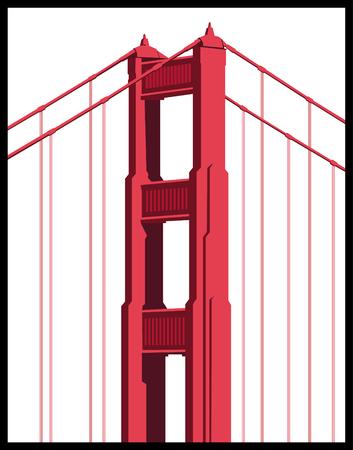 Golden Gate Bridge Art wyizolowanych na białym tle. Ilustracje wektorowe