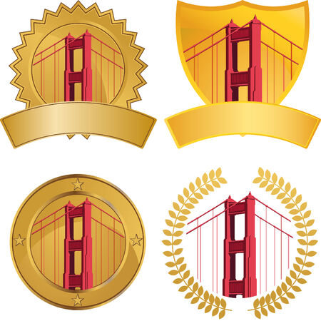 golden gate bridge: Golden Gate Bridge Set isolated on a white background.