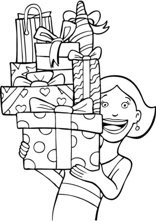 Gift Stack line art  isolated on a white background. Vettoriali