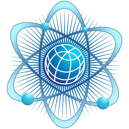 atom: atom globe isolated on a white background. Illustration