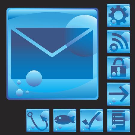 email liquid set isolated on a black background. Ilustrace
