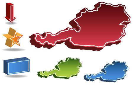 オーストリア国の地図は、白い背景で隔離されました。  イラスト・ベクター素材