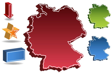 Germany country map isolated on a white background. Ilustrace